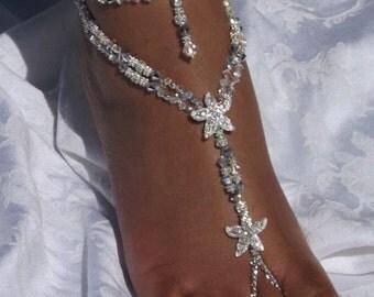 Beach Wedding Barefoot Sandal Bridal Shoe Sandal Starfish Barefoot Sandals  Wedding Barefoot Sandal Footless Sandal Bridesmaids Gift  1 PAIR