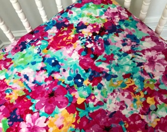 Girl Crib Sheet in Pink and aqua floral, Joy bedding, pink sheet, aqua sheet, crib bedding girl