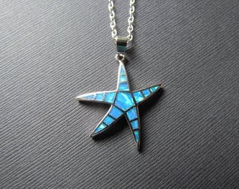 25% OFF SALE Blue Opal Starfish Necklace - October Birthstone Pendant - Opal Jewelry