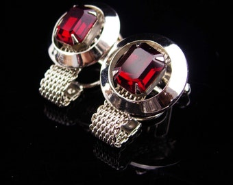 Vintage red Cufflinks / Silver mesh wrap / valentines gift for men / vintage mens jewelry / tuxedo set