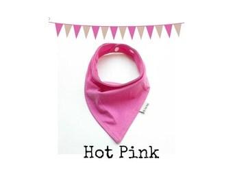 Bandana Scarf Bib - Bandana Scarf - Baby Bib - Solid Hot Pink