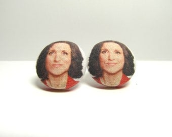 CLEARANCE Veep Selina Meyer Fabric Button Earrings
