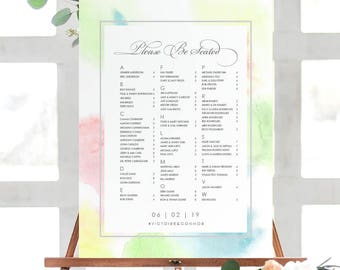 VICTORIE Watercolor Seating Chart Poster | Printable Seating Chart | Custom Seating Chart | Printed Seating Chart | Watercolor Wedding