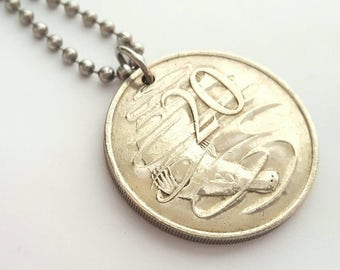 1980 Australian Coin Necklace  - Stainless Steel Ball Chain or Key-chain - platypus