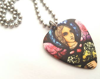 Stained Glass Design Guitar Pick Necklace with Stainless Steel Ball Chain