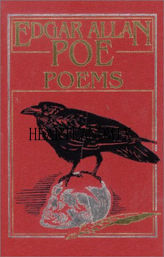 Antique Poe Poems Raven Reading Book Illustration Digital