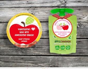 Printable Valentine Tags, Valentine's Day, Valentine Cards, DIY Applesauce Valentine Tag, Valentine Stickers, Apple Tag, Kids Valenetines