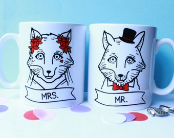 Mr and Mrs Mug Fox Bride and Groom Wedding Gift