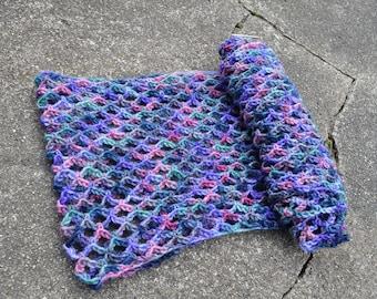 Hyacinth Infinity Scarf // Hand-dyed 100% Wool Handmade Crochet Cowl