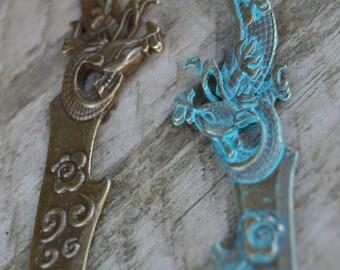 Dragon dagger necklace, bronze verdigris patina, oriental dragon sword necklace, large dagger jewelry