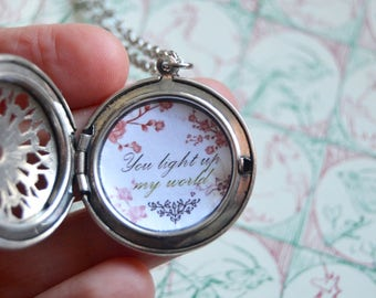 Love message jewelry You light up my world Secret message necklace, custom quote locket necklace love gift for her anniversary gift for her