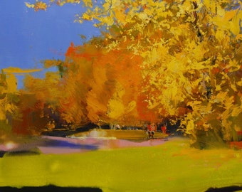 Colorful art painting on canvas, Vibrant landscape painting, Autumn nature oil painting by Yuri Pysar