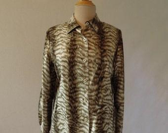 Vintage Valentino - Mottled Brown, Animal Print, Silk Blouse