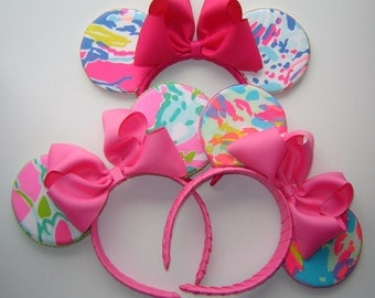 Girls, Women Authentic Lilly Pulitzer® Fabric Ears Headband -2016/2017 Lilly Pulitzer® Fabric - Mouse Ears Headband - One Size Fits 4 & Up