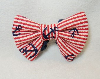 Red anchor dog bow tie Slide on dog collar bow tie with navy blue anchors red wavy stripes Summer pet bow tie Medium large dog nautical bow