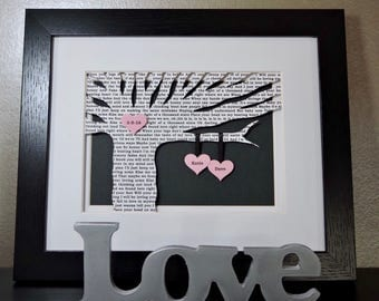 Anniversary Gift, Wedding Gift, First Anniversary Gift, Paper Anniversary, Song Lyrics, Wedding Tree, Unique Wedding Gift, Framed