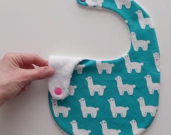 Baby bib for boy or girl - 6 to 18 months old size - Lamas print