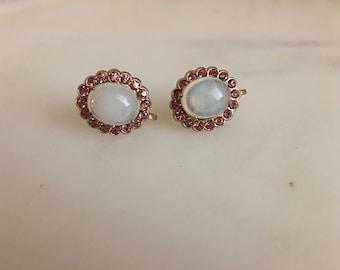 Coro Faux Cabuchon Opal and Pink Rhinestone Screwback Earrings