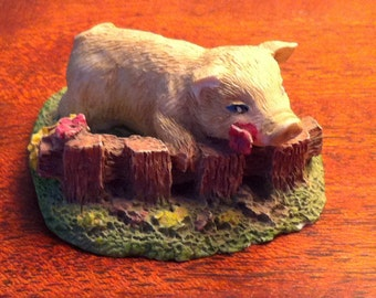 Pig Figurine, Cake Topper, Piggy Knickknack, Barnyard Animal, Statuette Pig, Fence and Flowers, Free Shipping
