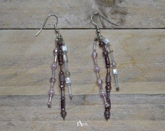 Beaded Dangle Earrings - Purple, Pink, White, Silver, and Clear