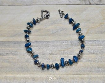 Stone and Bead Bracelet - Silver and Turquoise