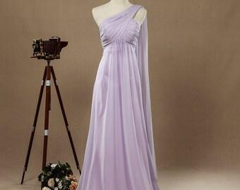 Lilac One-shoulder Detachable flap Bridesmaid Dresses,A-line Floor Length Evening Dresses,Formal Dresses,Prom Dresses