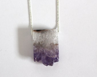 Amethyst geode slice necklace on silver plated chain