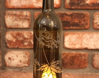 Lantern Fire Tree Frog - Brown (Stand & Candle Included) - Fall, Autumn, Maple, Tree, Amber Bottle, Wine, Eco Friendly,