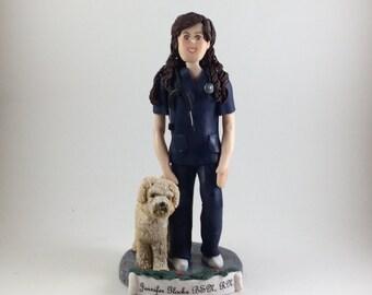Custom Polymer Clay Christmas Ornament, Nurse figurine, Female Sculpture, Cake Topper