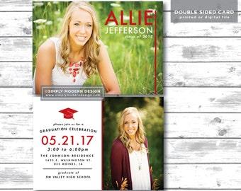 modern graduation announcement, graduation invitation, senior announcement, class of 2017, college graduation, PRINTABLE or PRINTED CARDS