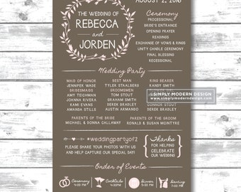 rustic wedding ceremony program,  modern, fun wedding programs, itinerary, timeline, reception sign, PRINTABLE or PRINTED PROGRAMS