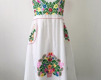 Embroidered Mexican Sundress Cotton Strapless Dress In White, Wedding Dress