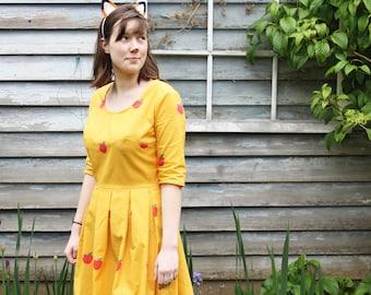 Fantastic Mr. Fox Dress - Mrs. Fox, halloween costume, cosplay, mustard yellow, apple, wes anderson