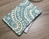Contact Card Holder, Business Card Pouch, Store Card Case, Cash Holder, in Dusty Blue Cotton Duck Fabric - Ready to Ship