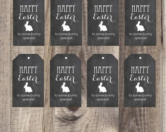 PRINTABLE Some-bunny Special Easter Tags - Instant download tags  - Happy Easter Chalkboard