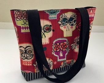 Sugar Skulls Tote Bag, Dia de Los Muertos Tote Bag, Day of the Dead Tote Bag, Quilted Tote Bag, Shoulder Bag