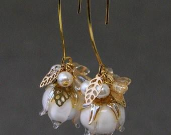 Lampwork Earrings Lily of the valley, Lampwork beads Earrings, Lampwork Hook Earrings, Dangle Earrings, Lampwork beads Lily of the valley