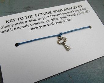 Key Wish Bracelet - Wish Bracelet - Skeleton Key Bracelet - Party Favor - Wishing Bracelet - Key Charm Bracelet - Graduation Gift