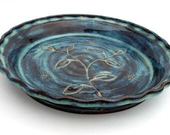 Teal ceramic pie plate, Pottery pie dish, Stoneware bakeware