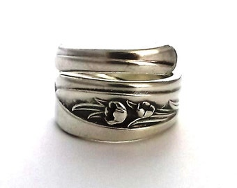 Spoon Ring Silver Tulip 1956 Size 5 6 7 8 9 10 11 12 Silverware Jewelry Spiral Wrapped Upcycled Repurposed Flatware Handle Teaspoon