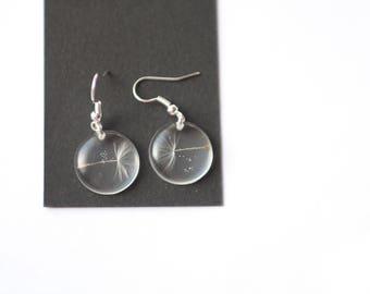 Dandelion earrings - Make a whish - White dream - Resin Dandelion Seeds earrings -  Botanical jewelry