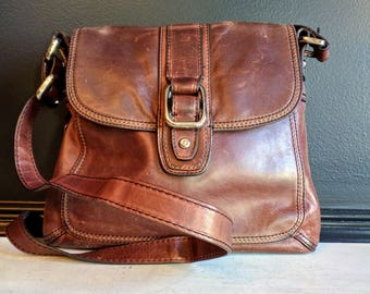Vintage Fossil Shoulder Bag - Brown Leather Authentic Fossil Crossbody