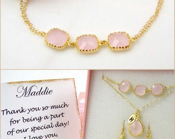 Pink Bracelet Crystal Bracelet Bridesmaid Bracelet Blush Wedding Pink Jewelry Delicate Bracelet Blush Bracelet Bridesmaid Gift Idea