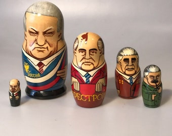 Set of 6 Authentic Russian Presidents Matryoshka Dolls From the 1980's