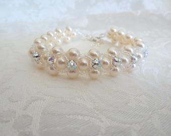 Swarovski Pearl Beadweave Bridal Bracelet- Swarovski Montee Pearl Bracelet- Swarovski Beadweave Bracelet- Swarovski Bridal Bracelet- 569