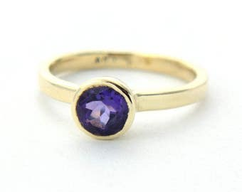 Amethyst Yellow Gold Ring Purple Amethyst Yellow Gold Ring Size 6.5 Amethyst Engagement Ring