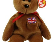 Britannia Bear - Retired  UK Exclusive Ty Beanie Baby - 1997 - Mint Condition