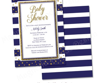 Navy Blue and Gold Baby Shower Invitation, Boy Baby Shower Invitation, Navy Blue Striped Baby Shower Invitation - Printable Digital File