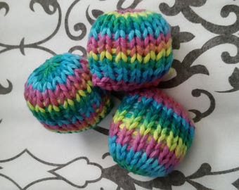 Set of Three Hand-Knit Stuffed Rainbow Catnip Cat Toys