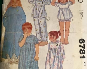 McCalls VINTAGE Pattern 6784 Size 6-  Girl Pajamas, Nightgown & Housecoat